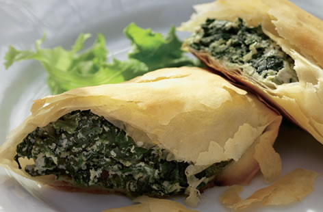 spinach and ricotta filo slices